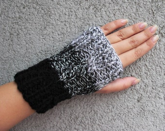 Fingerless gloves Ombre knit gloves Knitted mittens Knit arm warmers winter gloves wool gloves hand knit gloves grey mittens
