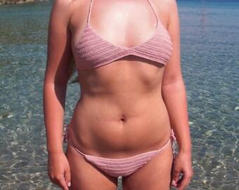 Crochet swimsuit, Pink swimsuit, Bohemian swimsuit
