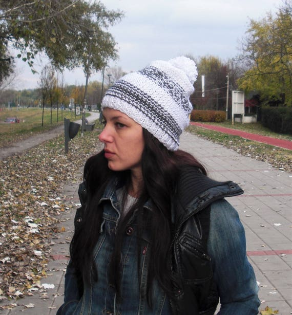 ... competitive price 40a94 758d3 slouchy hat hand knit hat chunky knit hat  winter hat white ... 69014cf07168