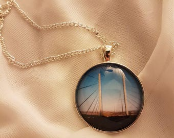 Kessock Bridge, Inverness | 30mm Glass Pendant Necklace | Driving into the capital of the Scottish Highlands |