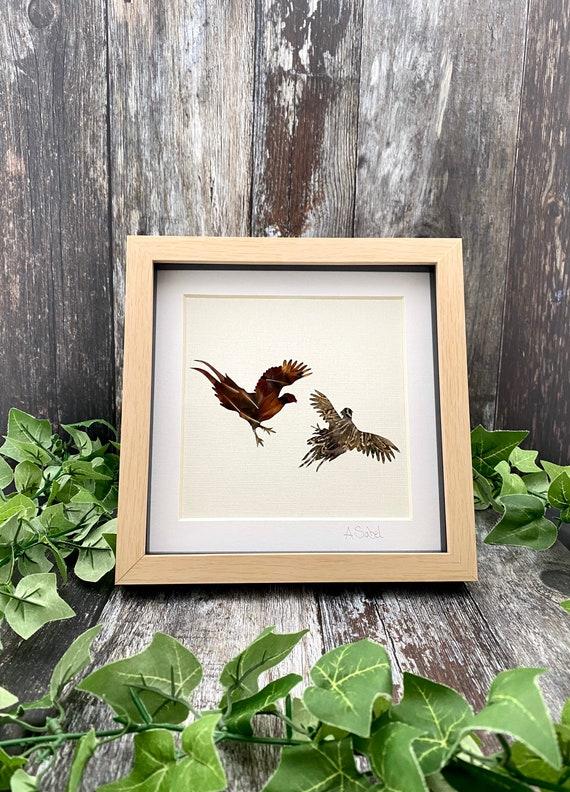 Fighting Cocks Pheasant Feather Framed Artwork