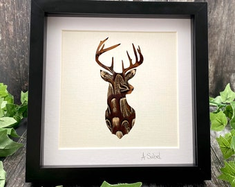 Stag Pheasant Feather Framed Artwork