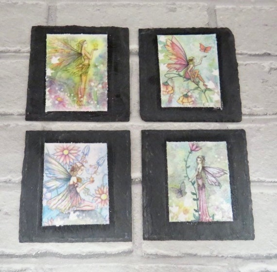 fairy home decor, flower fairies, slate coasters, gifts for her, girls bedroom accessories, unique gifts, magical tableware, pixie decor