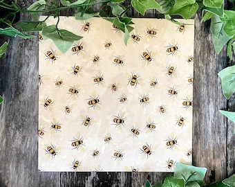 Square Bumblebee Pattern Trivet, Gift For Gardeners