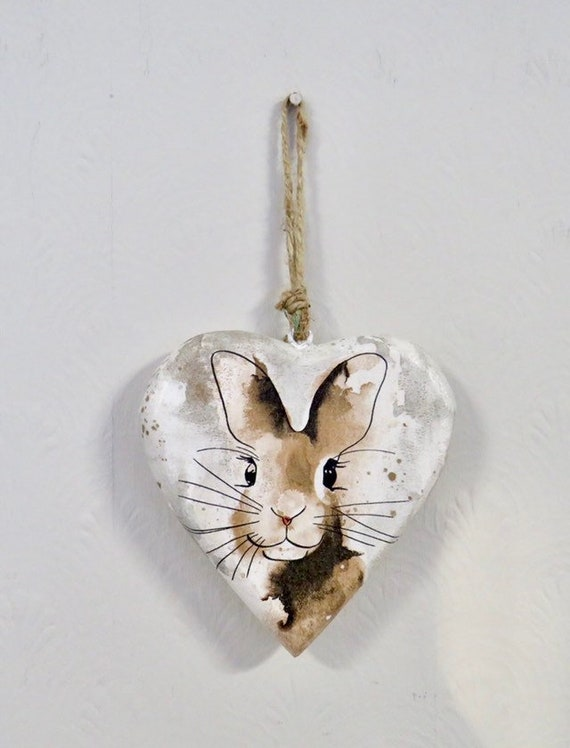 wooden heart plaques, rabbit lover gift, hare home decor, easter bunny, rustic wall hangings, large hearts, animal lovers gifts, pet images