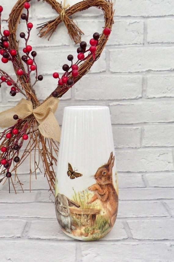 rabbit homeware, bunny decor, porcelain vase, white home ware, rustic homes, farmhouse living, country life, nature lover gift, unique vases