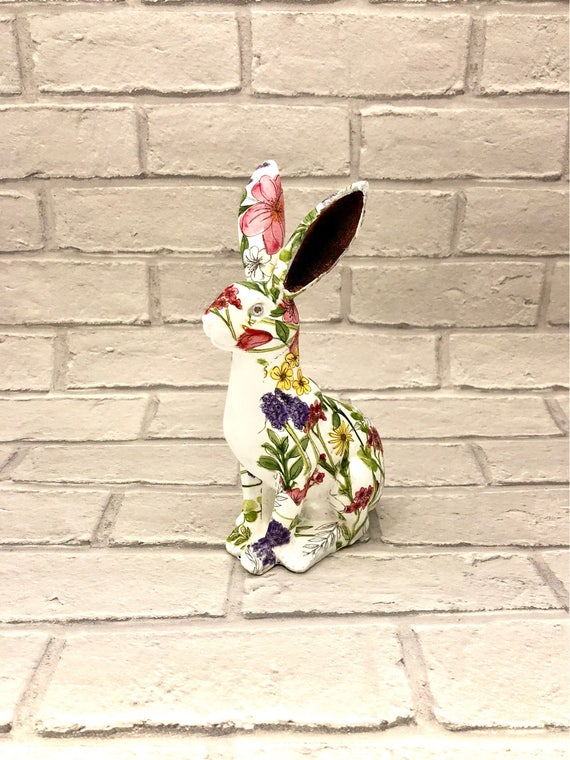 hare ornament, easter present, mantelpiece decor, white rabbit, easter bunny, white hare, easter gift, woodland decor, spring hare,mad march