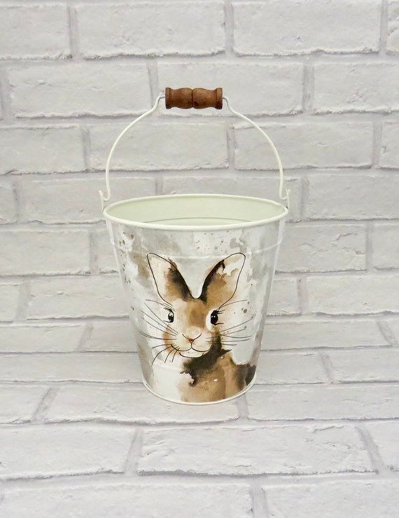 Unique rabbit gift, narrowboat buckets, utensil holder, rustic plant holder, small kindling holders, Easter gifts, bunny home decor,
