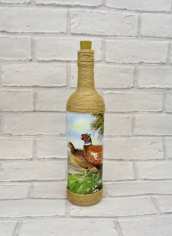 gifts for hunters, pheasant home ware, gamekeeper gift, country homes, farm house decor, rustic houses, game hunter, light up bottles, lamps