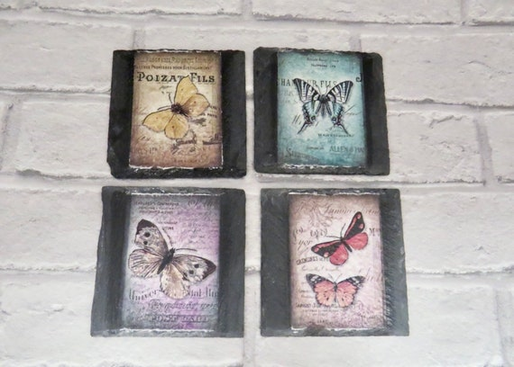 butterfly coasters, individual moth coaster,  insect lovers, housewarming gifts, slate tableware, vintage dining, shabby chic, retro rustic