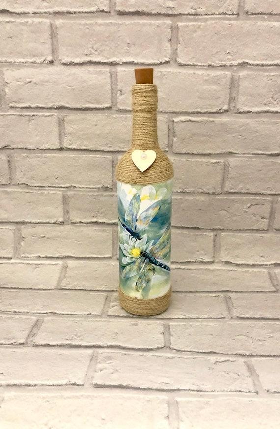 dragonfly lover, shabby chic lantern, decoupage bottle, british nature, gifts for her, light up wine bottles, wedding gift, living room deco