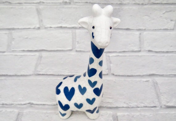 giraffe figurine, ornamental giraffes, heart home decor, gifts for mum, blue homeware, love hearts, Mother's Day present, animal lovers,