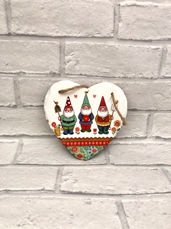 Garden gnomes, outdoor plaques, slate hearts, gnome gifts, gift for gardeners, patio decor, wall hangings, bright and bold present, fathers
