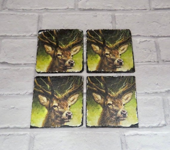 Country Stag Slate Coaster Set