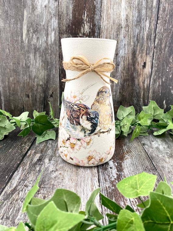 House Sparrow Glass Vase