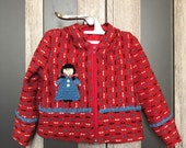 Red baby girls coat with hood and blue embroidered girl Warm spring kids jacket for 1,5 -2 years