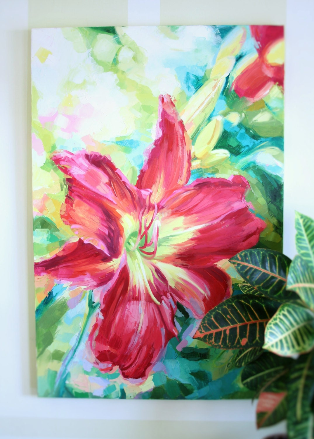 Bright Color Flower Painting Fushia Lily Bloom Contemporary Large Painting On 24x36 Canvas By Ezartesa