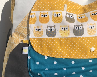 Custom weekend bag, diaper bag, owls, owls, bag has changing colored * on order - fabric choices *.
