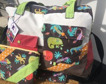 Diaper bag, weekend bag, lizards, diaper bag diaper bag tropical, diaper bag Red Brown, birthstone list, fabric leaves