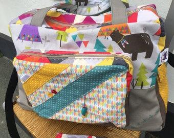 Diaper bag, large weekend bag, retro, diaper bag diaper bag bear, diaper bag blue green * on order - fabric choices *.