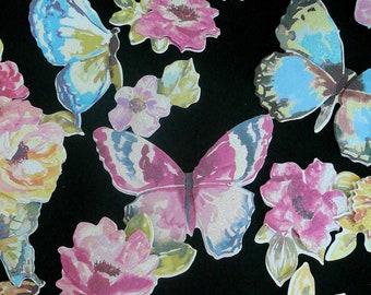 Papillon fleurs Dimension papier embellissements scrapbooking fournitures carterie par VintageStudioSupply