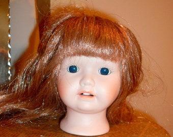 En porcelaine poupée femelle tête poupée partie cheveux longs yeux en verre Dollmaking par VintageStudioSupply