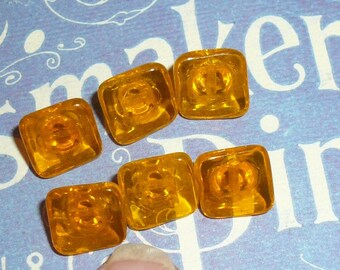 Square Glass Amber Buttons Czech Tiny Buttons Vintage Buttons by VintageStudioSupply