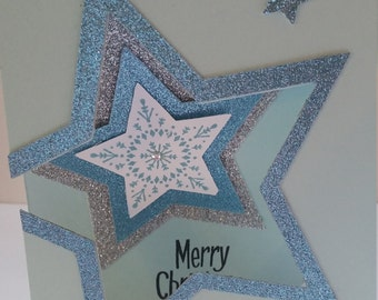 Blue and Silver Star Christmas cards - set of ten