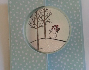 Snowman and snowy landscape Christmas cards - set of ten