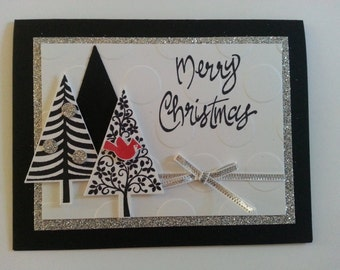 Black and silver Christmas trees Chirstmas cards