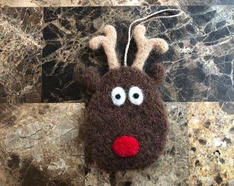 Needle Felted Reindeer Ornament, Needle Felted Reindeer Decoration, Needle Felted Reindeer