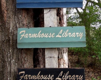 Rustic Signs Farmhouse Library Primitive signs, Old Wooden Signs, Distressed Signs Antiqued Signs