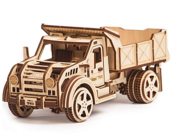 Wood Trick American TRUCK Jeep Mechanical Models 3D Wooden Puzzles DIY Toy  Assembly Gears Constructor Kits for Kids, Teens and Adults