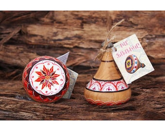 Handmade Wooden Spinning Top Spinner with Armenian Ornaments