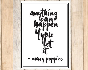Mary Poppins Quote, Disney decor, Baby nursery Mary poppins decor, Disney nursery, Mary poppins, mary poppins printable, DIY nursery decor