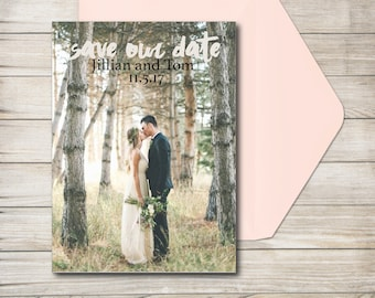 Save the dates with engagement photo, save the date card, rustic wedding announcement, custom save the date, wedding announcement printable