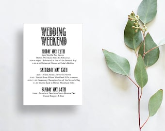 Wedding weekend itinerary, Wedding Itinerary, Wedding schedule, Weekend schedule, Weekend wedding itinerary, Destination wedding schedule