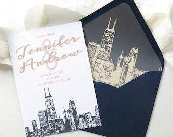 chicago skyline save the date destination wedding etsy