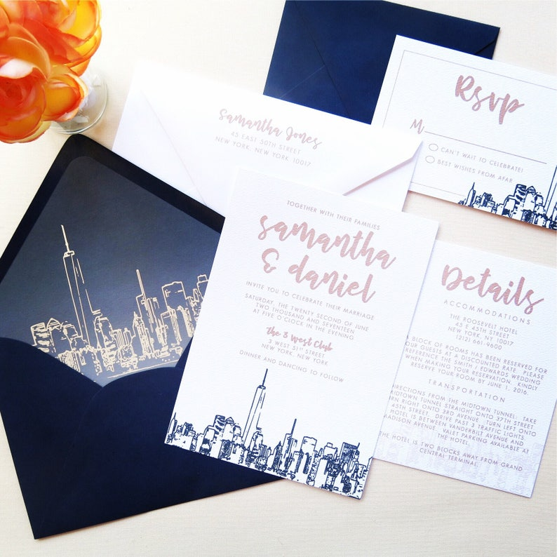 Nyc Skyline Wedding Invitation Suite Navy And Champagne Etsy
