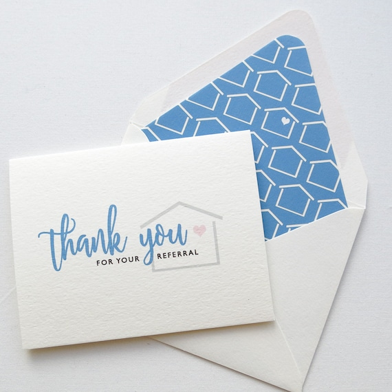 Real Estate Agent Thank You Cards Real Estate Referral Card Etsy