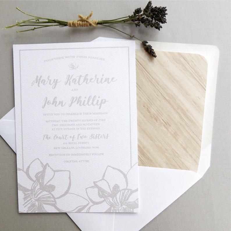Magnolia Southern Wedding Rustic Invitation