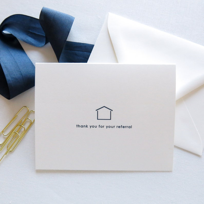 Real Estate Agent Thank You for Your Referral Cards Minimalist Realtor Referral Cards Classic Navy Card