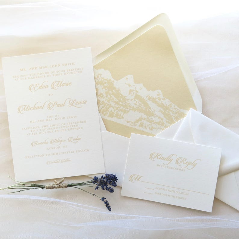 Qty: 70 Carla Custom Design Ivory and Cream Mountain Wedding Invitation Suite