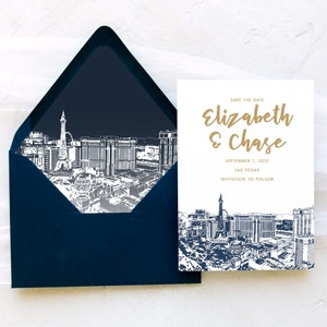 A7 Size PRINTED Save the Date Cards Navy and Gold Las Vegas Skyline Strip View