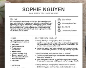 functional resume etsy