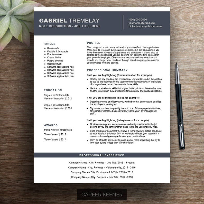Creative resume template | one page functional resume, cover letter &  references / cv template, modern resume, professional resume