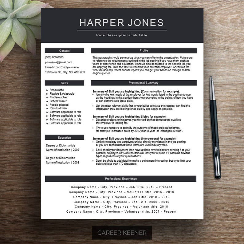 Creative Resume Template One Page Functional Cv