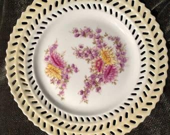 Vintage Reticulated German Porcelain Plate - circa. 1907, Germany.
