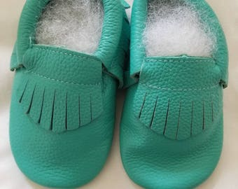 Genuine leather baby moccasin shoes, teal baby shoes, silver baby moccs, baby moccs, baby moccasins, baby shoes, baby walkers, leather moccs