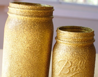 Gold Glitter Mason Jar Vase, Gold Glitter Vase, Rustic Vase, Mason Jar Vase, Wedding Decor, Home Decor, Country Chic, Baby Shower Decor